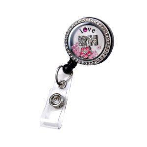 Pink Rhinestone Love RN Flower Retractable Custom Locket ID Badge Holder: Main Image
