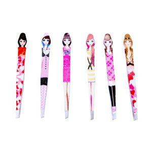 Wholesale Bulk Doll Eyebrow & Lip Tweezers 6 Pack: Front Side