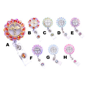 Iridescent 3D-360 Bling Rhinestone Medical Sign Retractable ID Badge Holder: Group Shot