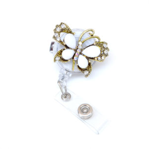 White Jeweled Butterfly Retractable ID Badge Holder: Featured Image