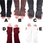 Women's Long Plain Cable Knit Fingerless Gloves: Group Shot