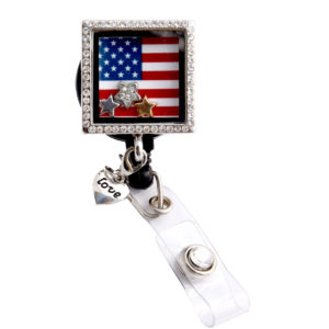 American Flag Square Charm Locket Retractable ID Badge Reel: Featured Image