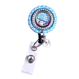Blue Polka Dot Nurse Bottle Cap Charm Locket Badge Reel: Featured Image