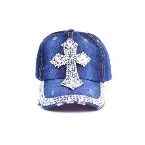 Women's Bling Gothic Rhinestone Cross Denim Hat