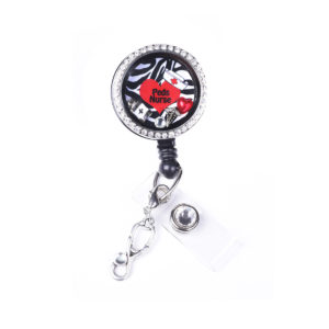 Zebra Peds Nurse Heart Charm Locket Retractable Badge Reel: Featured Image