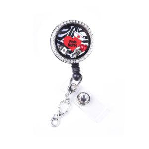 Zebra Peds Nurse Heart Charm Locket Retractable Badge Reel: Featured Image