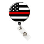 Thin Red Line Flag Badge Reel Retractable ID Badge Holder: Featured Image