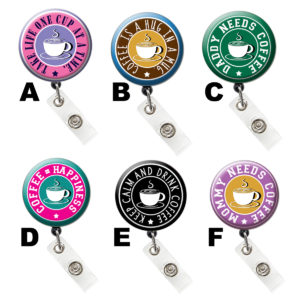 Colored Coffee Cup & Morning Mantra ID Badge Holder: Featured Image