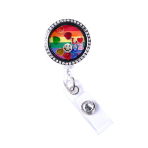 Rainbow Love Heart Charm Locket Retractable ID Badge Reel: Featured Image