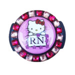 Flower Lined RN Hello Kitty Stethoscope Tag