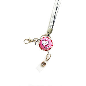 Pink Hello Kitty Flower Retractable Badge Reel Multi-tone Rhinestone Lanyard Combo Set