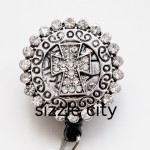 SIZZLE CITY Custom Rhinestone Retractable ID Badge Reel: Diamond Cross