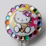 SIZZLE CITY Custom Retractable ID Badge Reel: Hello Kitty with Teddy