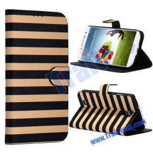 Two Color Stripes Stander Flip Case Cover for Samsung Galaxy S4 i9500