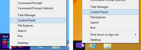 Right-click shortcut menus on the Windows 8 and 8.1 Start buttons