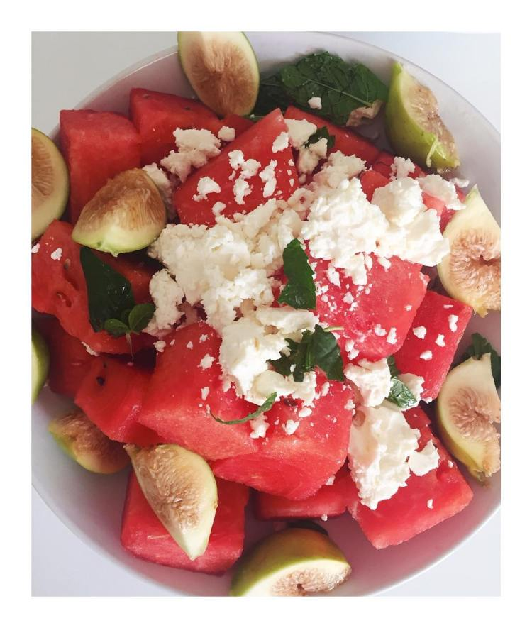 Watermelon mint fig feta summereats I grew those figs myselfhellip