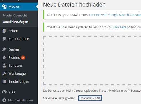Upload Limit in WordPress erhöhen bei 1und1
