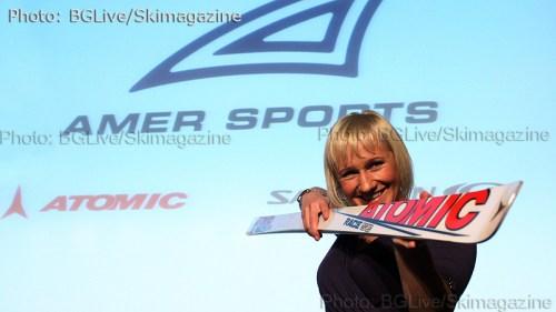 Легендарната Ренате Гьотчел бе почетен гост през 2008 година когато Amer Sports придоби фабриката за ски в Чепеларе   (Снимки: Николай Дончев BGLive/Skimagazine)