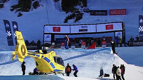 Микела Мойоли (Ит) бе откарана с хеликоптер след падането й в полуфиналната серия на Сани.