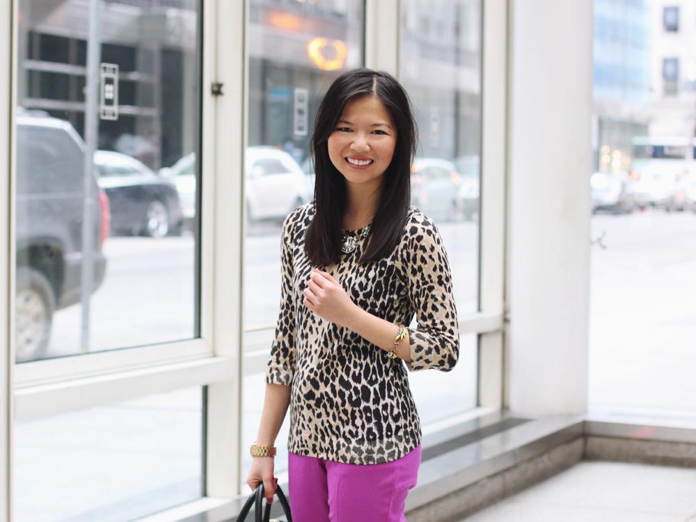 Leopard Sweater & Radiant Orchid Pants