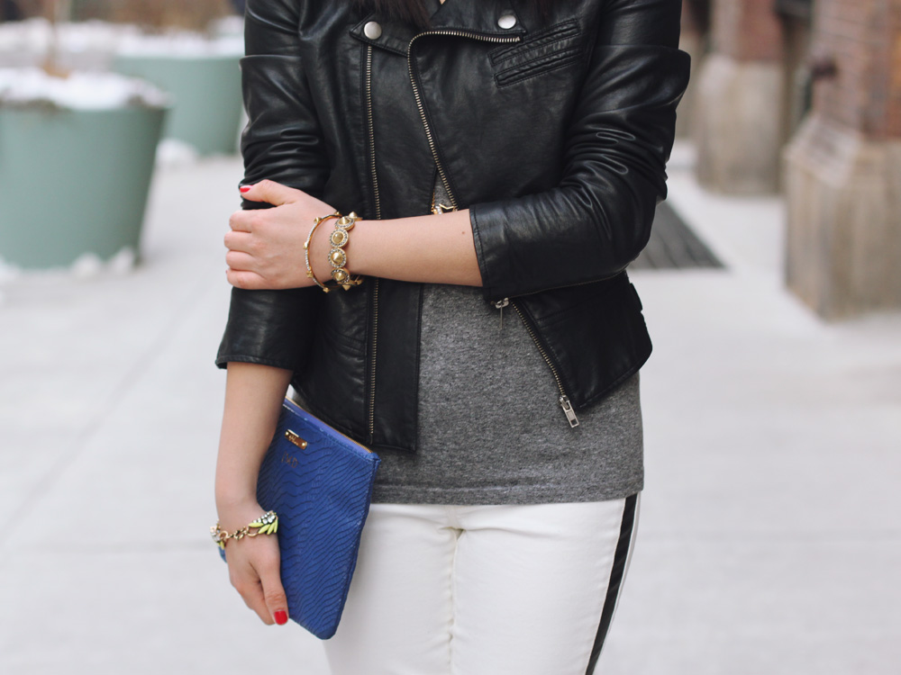Leather Jacket & Leather Striped Pants