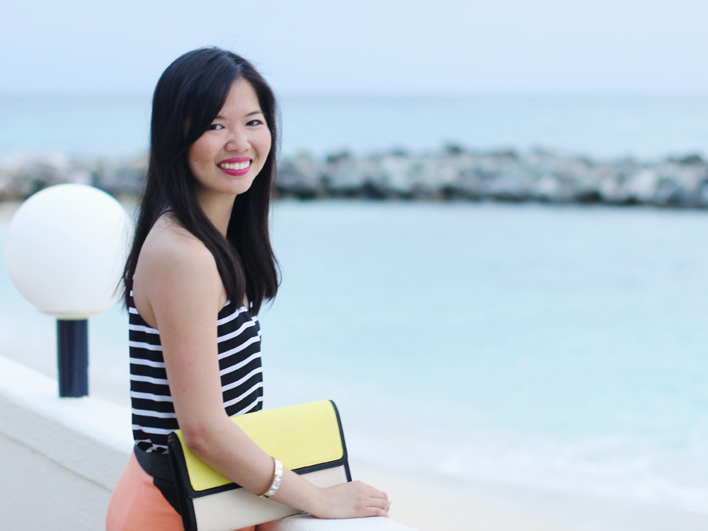 Yellow Colorblock Clutch
