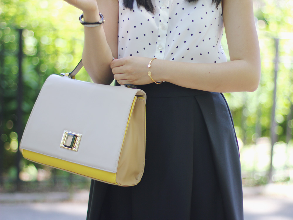 Yellow and Beige Colorblock Satchel