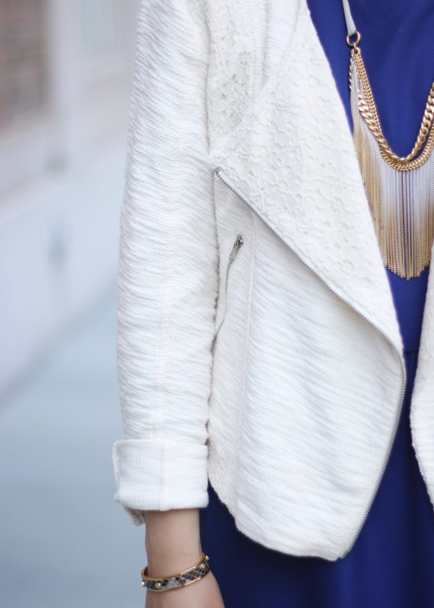 Spring Moto Jacket & Navy Dress