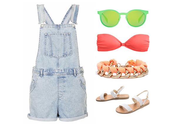 Neon Coral Bikini Top & Denim Overalls