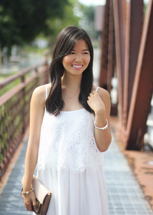 White Crochet & Chiffon Dress