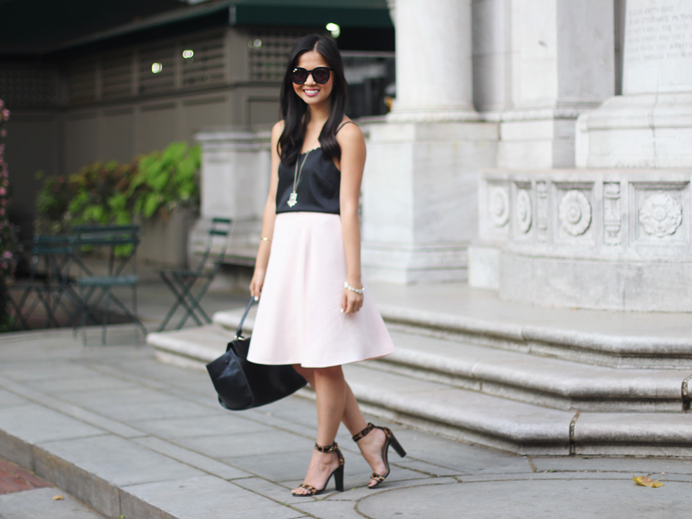 Pale Pink Skirt & Leopard Heels