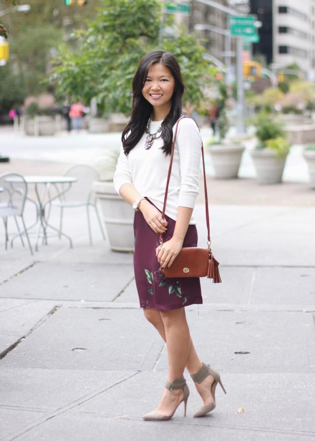 Burgundy Floral Pencil Skirt