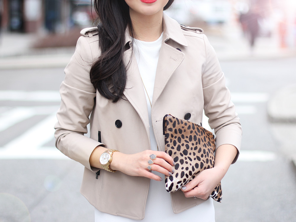 Skirt The Rules // Cropped Trench Coat & Leopard Clutch