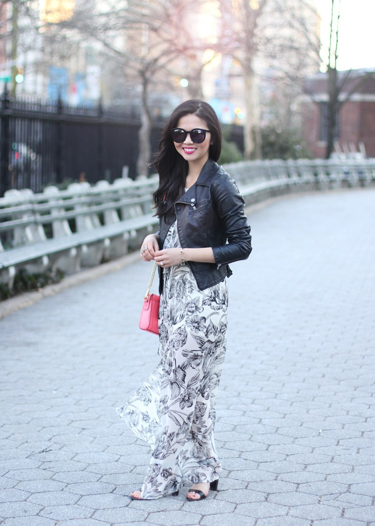 Skirt The Rules // Floral Maxi Dress & Leather Moto Jacket