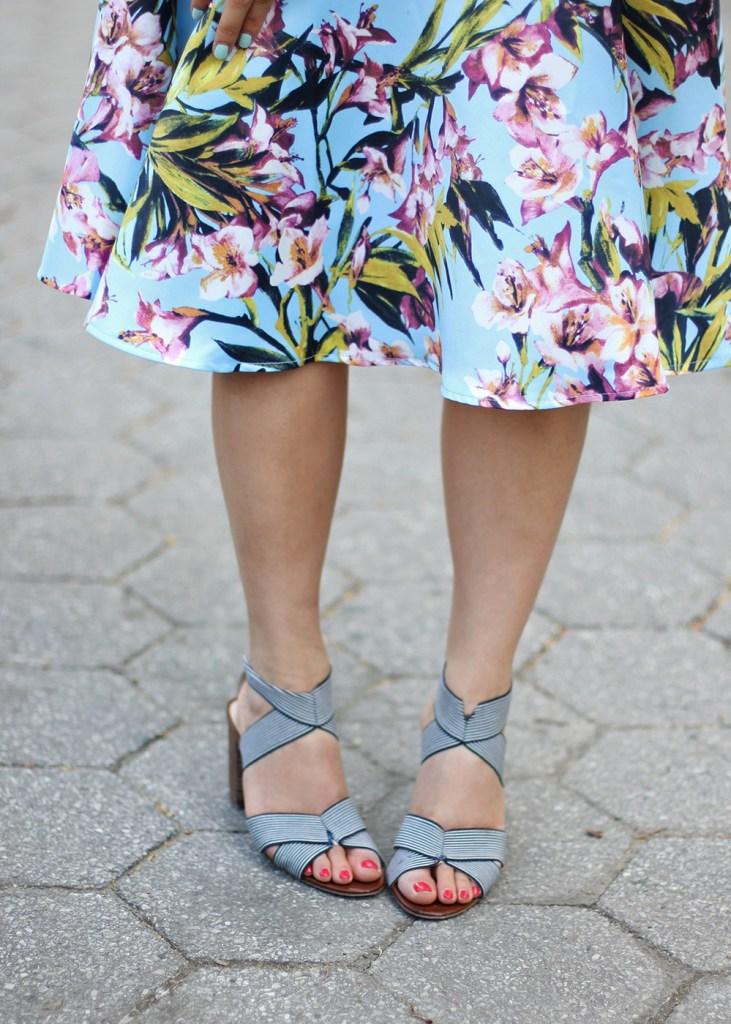 Skirt The Rules // Blue & Pink Floral Skirt & Navy Stripe Heels