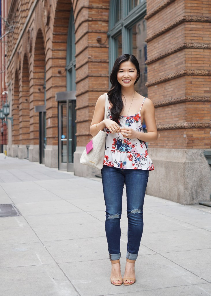 Skirt The Rules / Floral Peplum Top & Skinny Jeans