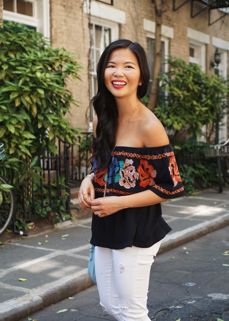 Skirt The Rules / Embroidered Off the Shoulder Top