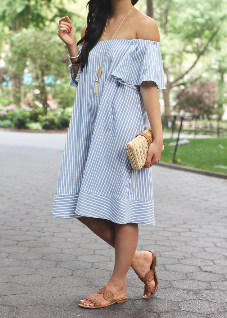 Blue & White Striped Off the Shoulder Dress