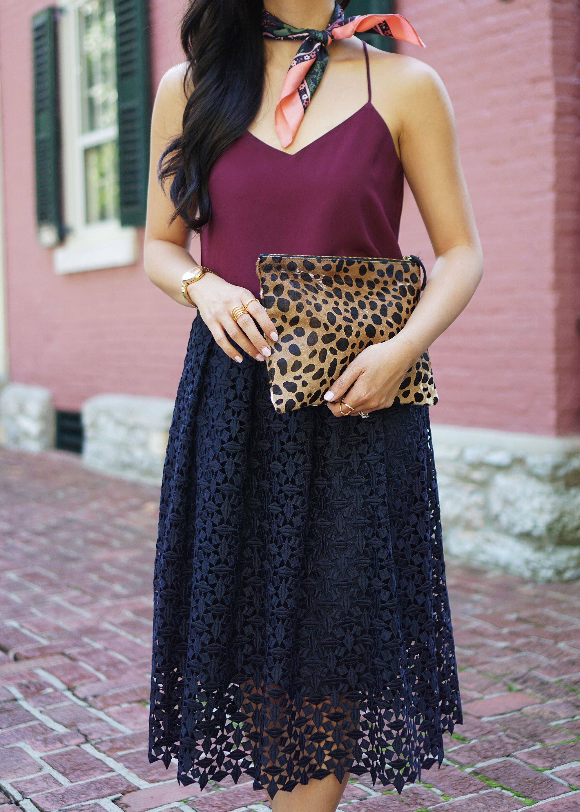 Fall Style in Warm Weather: Burgundy, Navy and Leopard
