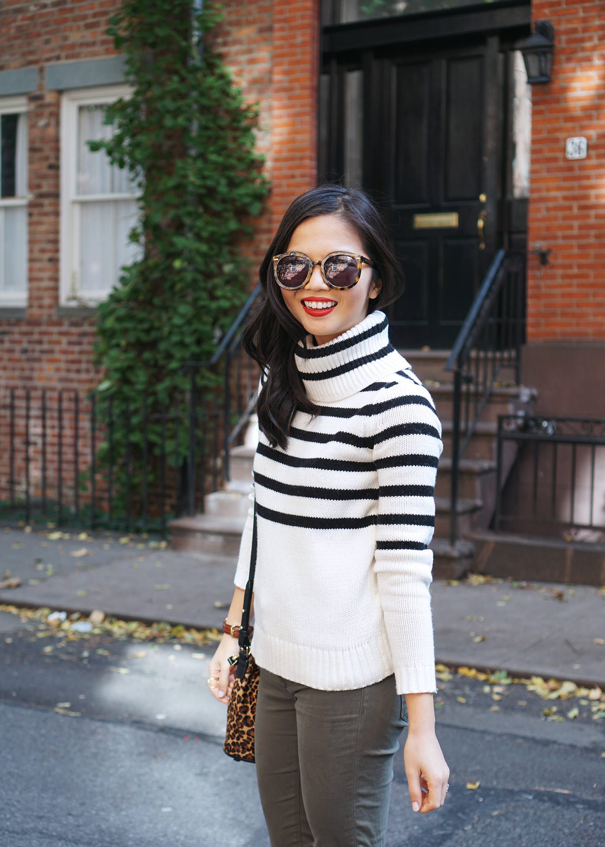 Black & White Striped Turtleneck Sweater