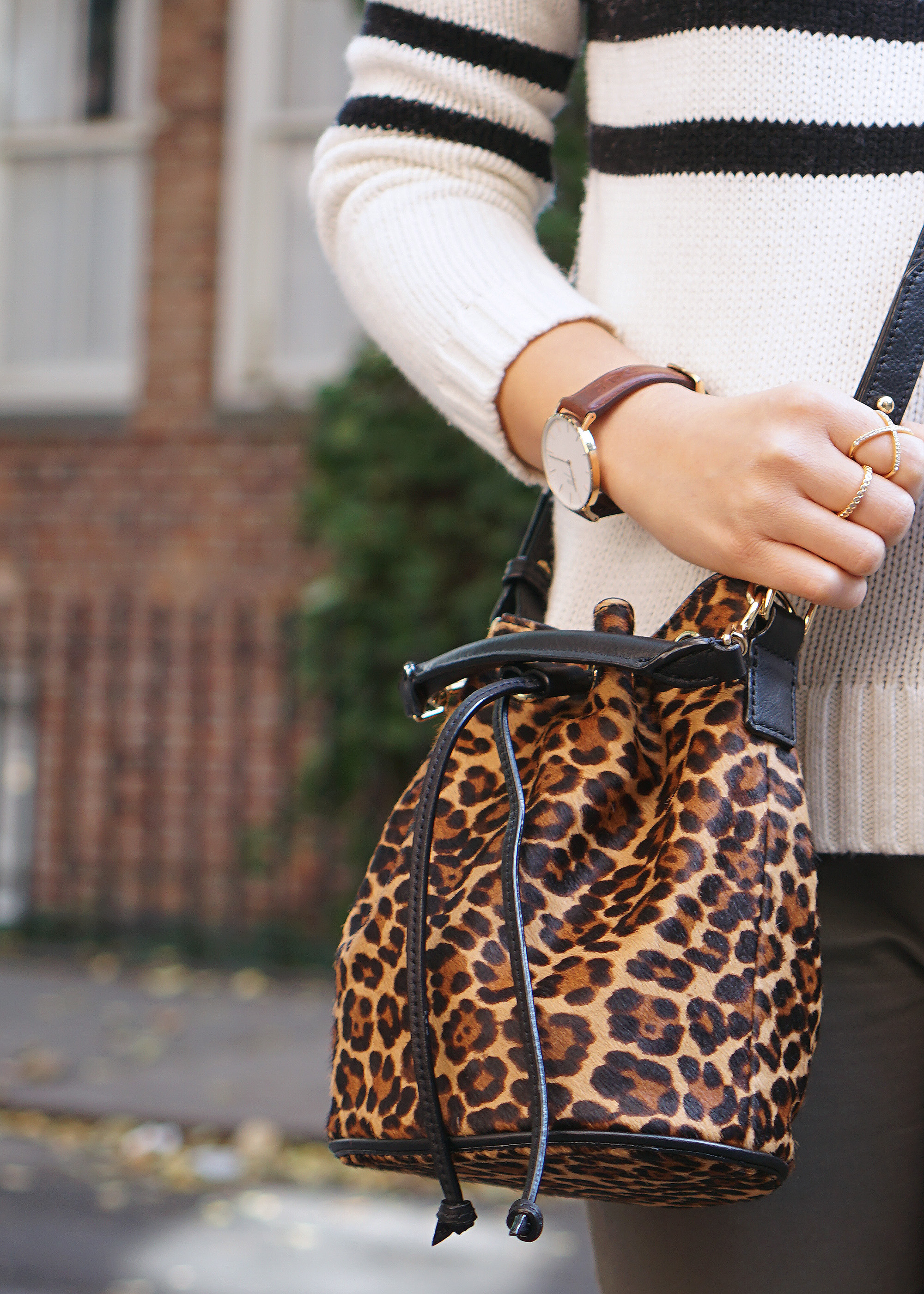Trendy Fall Accessories: Leopard Bucket Bag