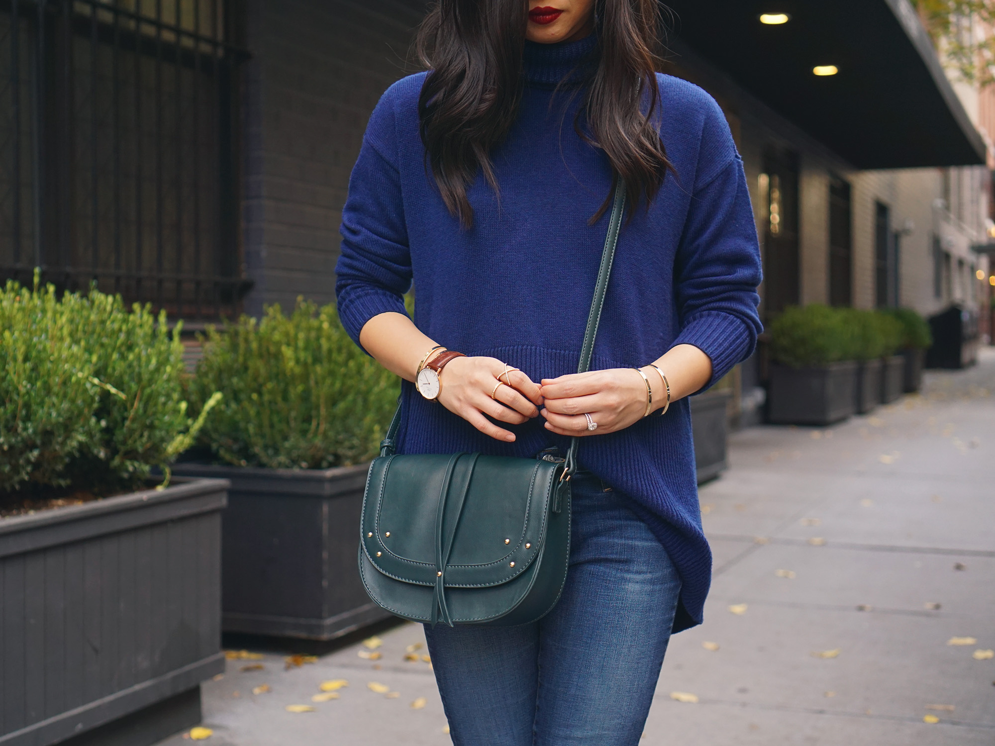 Casual Fall Outfit Idea: Navy Turtleneck & Ripped Jeans
