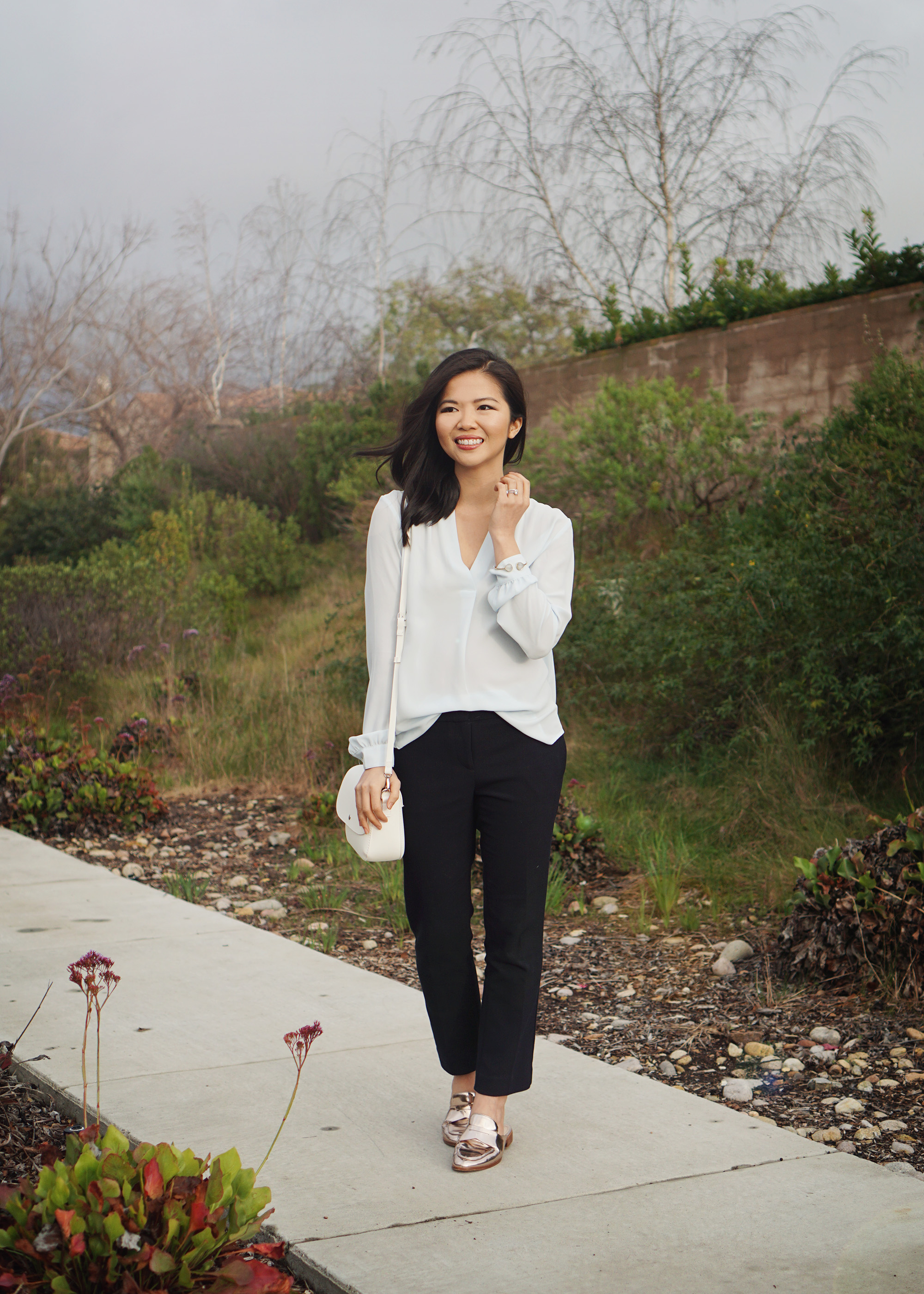 Skirt The Rules / Light Blue Blouse & Navy Slacks