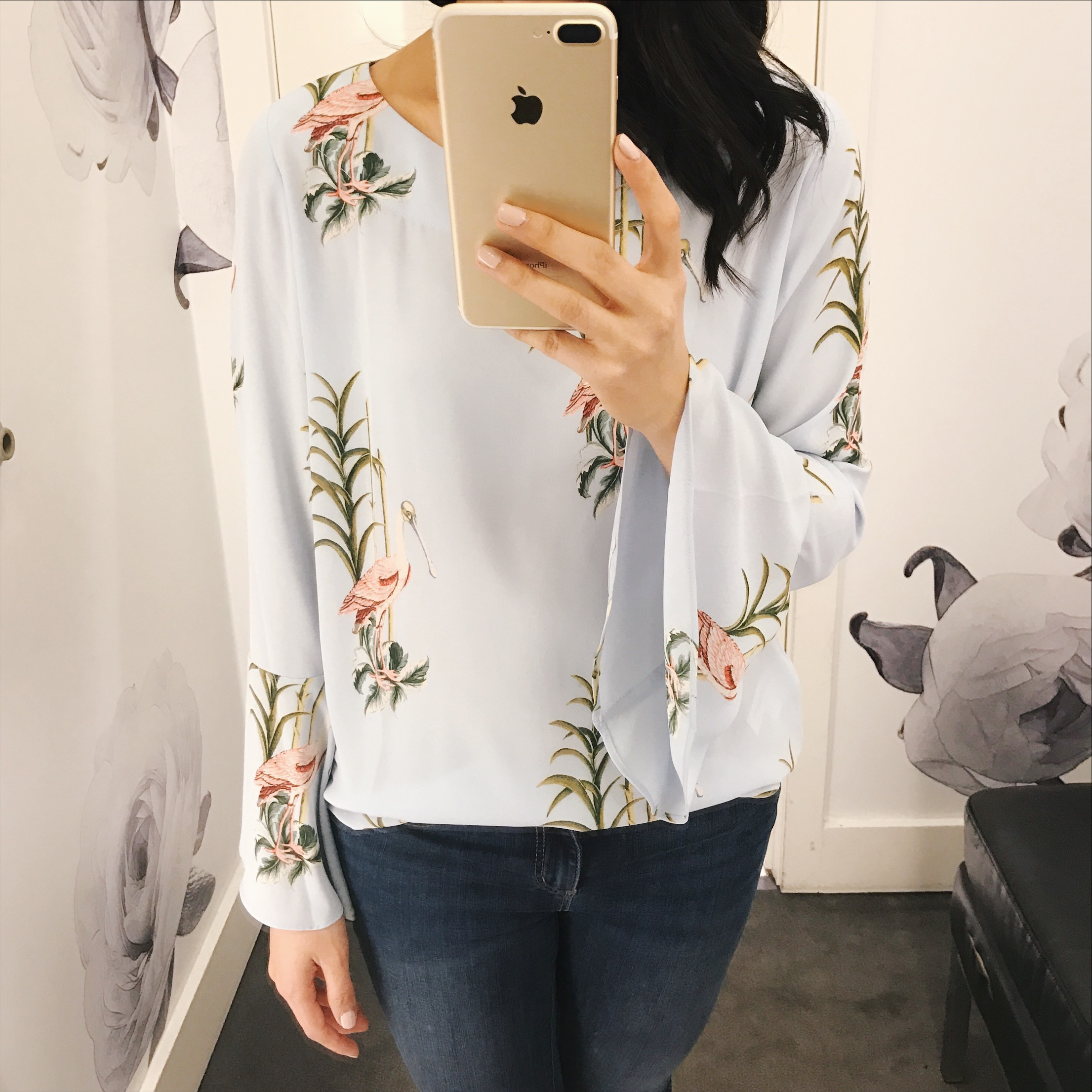 Bird Print Bell Sleeve Blouse
