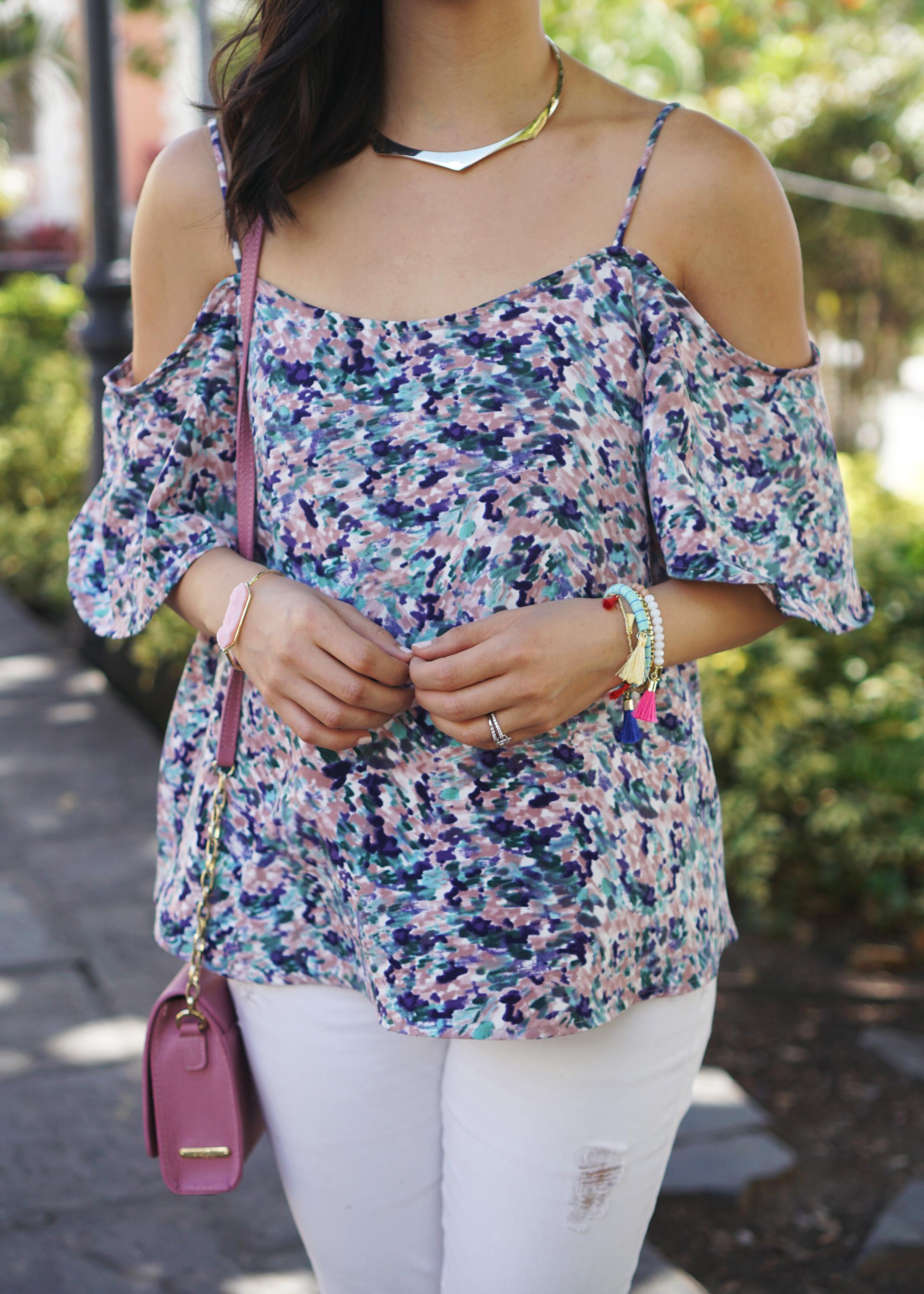 Spring Trend / Floral Cold Shoulder Top & Tassel Bracelets