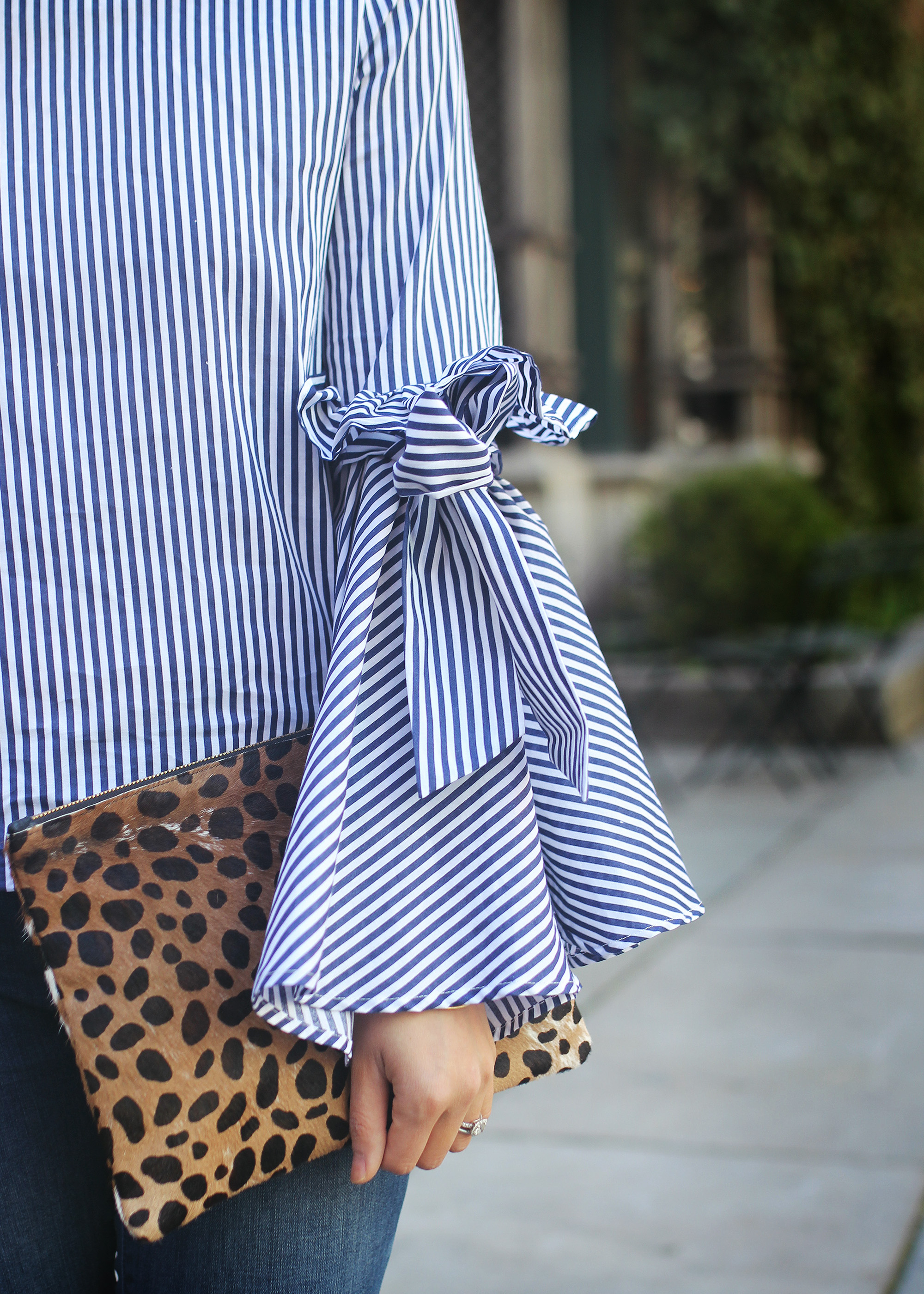 Skirt The Rules / Blue & White Striped Bell Sleeve Top