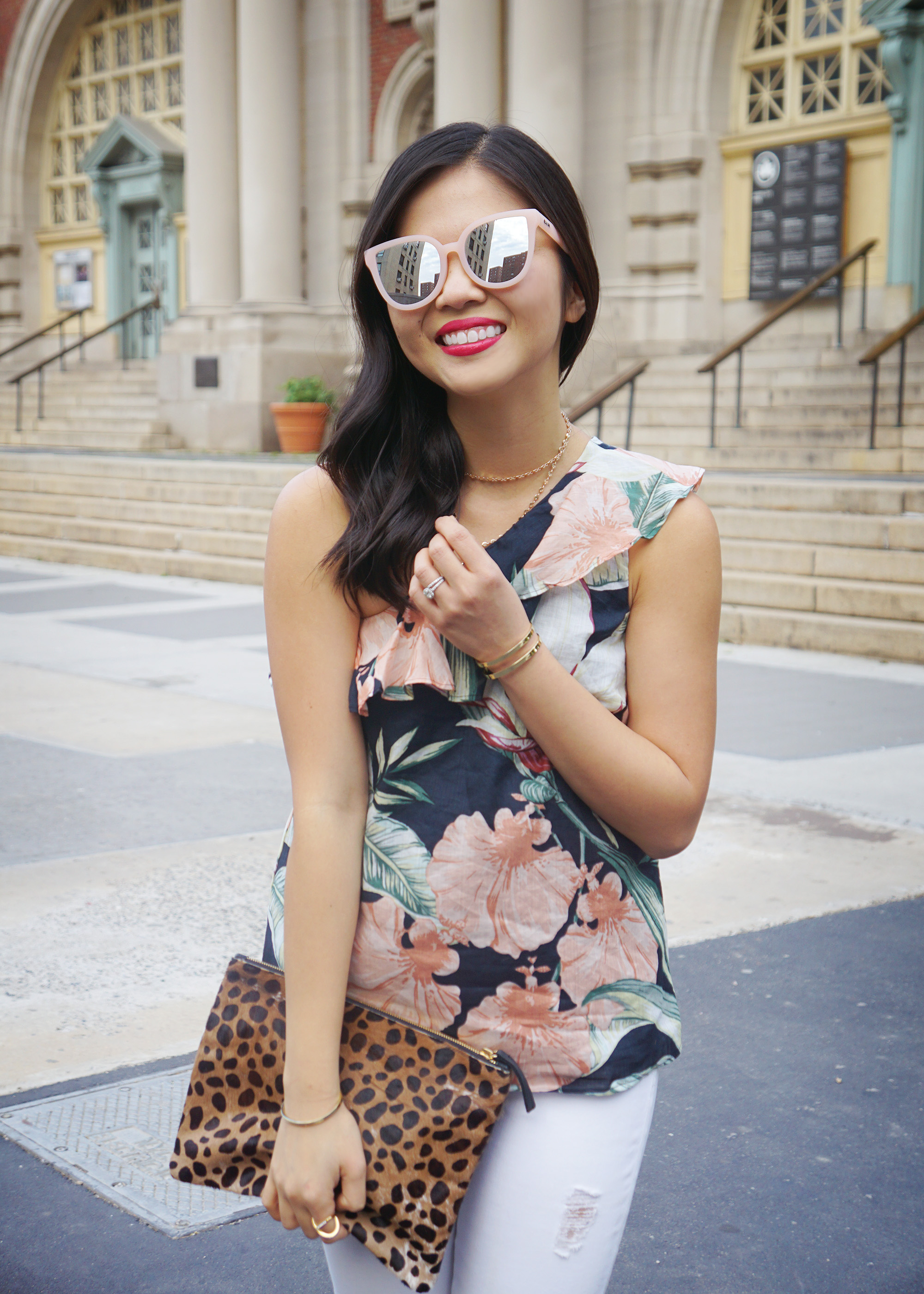 Floral Print One Shoulder Top