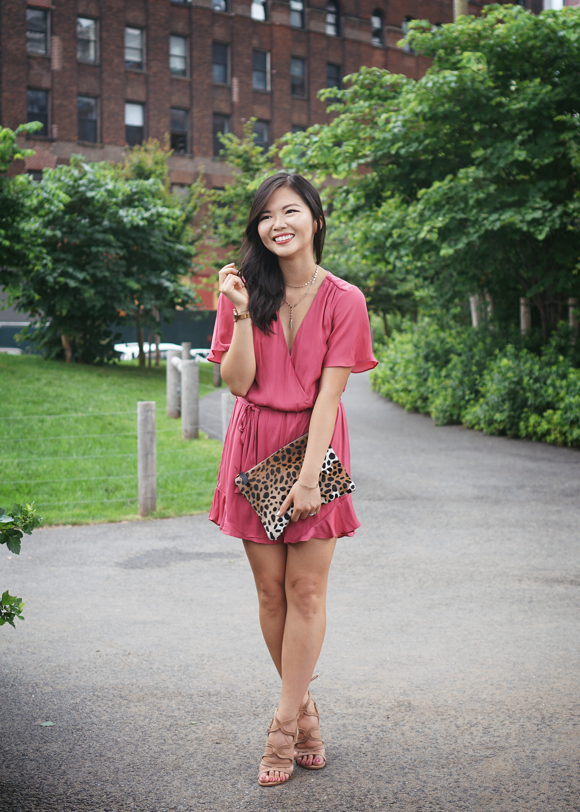 Summer Style / Pink Satin Romper with Ruffle Hem