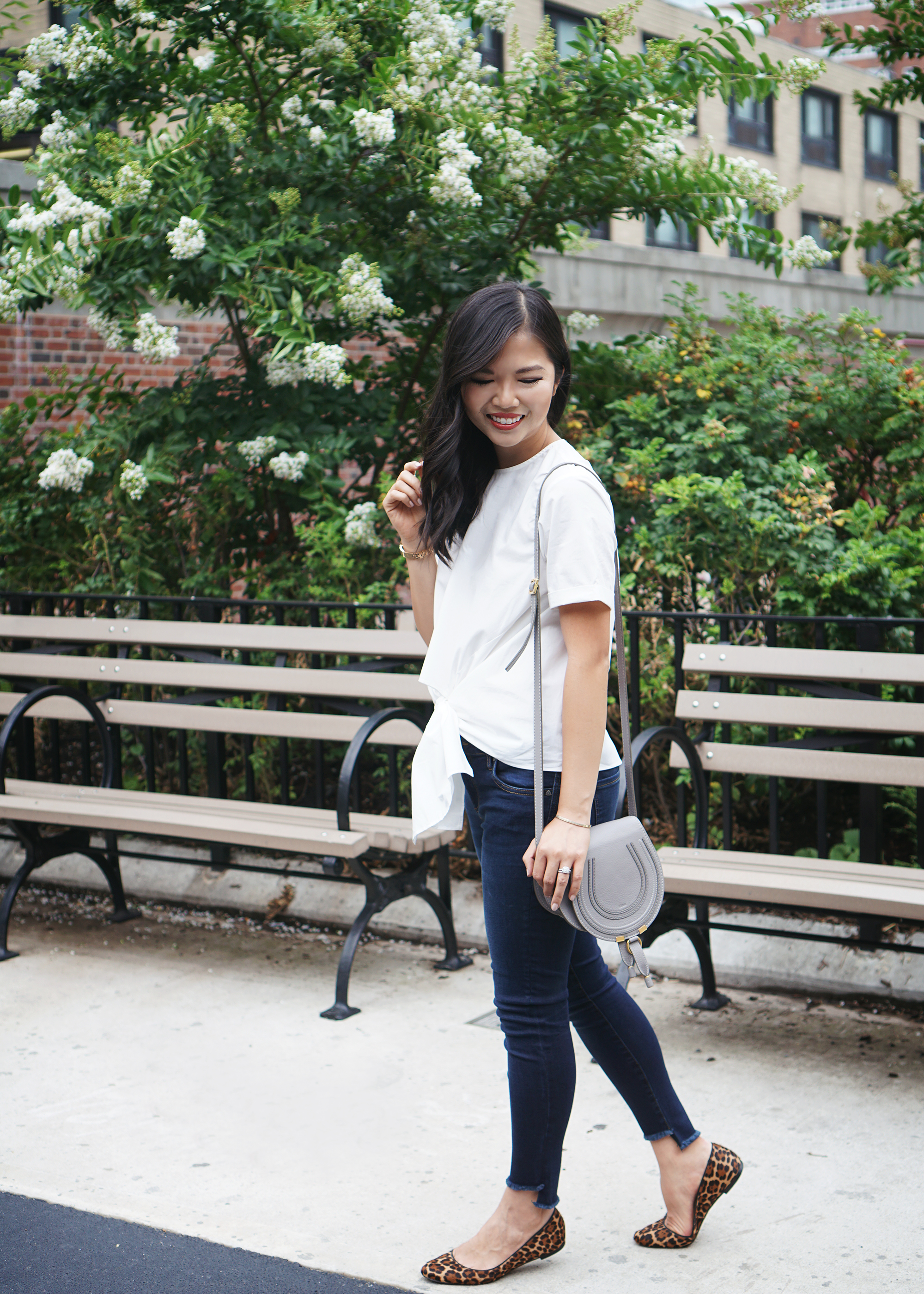 Casual Style Inspiration: White Tie Front Blosue & Step Hem Jeans