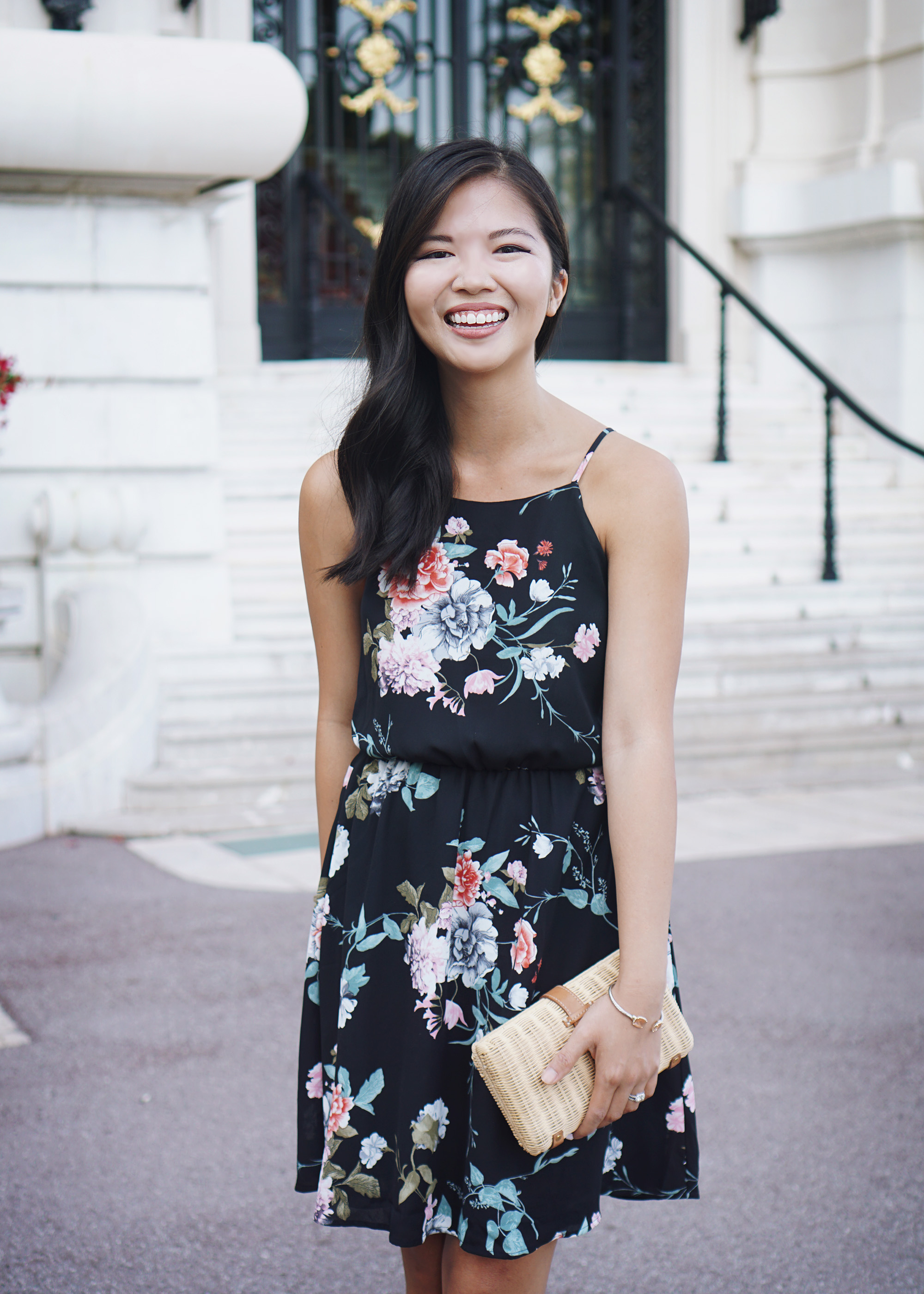 Summer Outfit Inspiration: Black Floral Print Dress